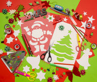 Arts and craft supplies for Christmas. Royalty Free Stock Photos