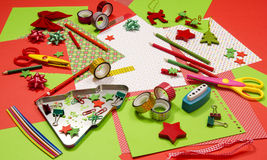 Arts and craft supplies for Christmas. Royalty Free Stock Images