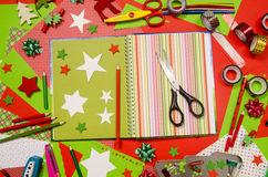 Arts and craft supplies for Christmas. Stock Photo