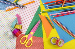 Arts and craft supplies. Royalty Free Stock Images