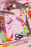 Arts and craft supplies for Saint Valentine's. Royalty Free Stock Photo