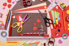 Arts and craft supplies for Saint Valentine's. Stock Photos