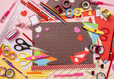Arts and craft supplies for Saint Valentine's. Royalty Free Stock Image