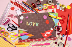 Arts and craft supplies for Saint Valentine's. Royalty Free Stock Photos