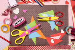 Arts and craft supplies for Saint Valentine's. Stock Images
