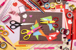 Arts and craft supplies for Saint Valentine's. Royalty Free Stock Images
