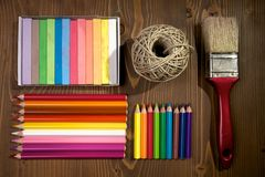 Arts and crafts. Materials for arts and crafts in preparation for going back to school Royalty Free Stock Photography