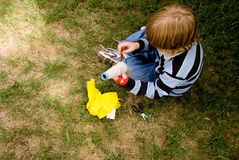 Arts and Crafts. A boy doing asn arts and crafts project royalty free stock images