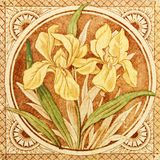 Arts & Crafts Antique Tile. An antique iris printed tile from the Arts & Crafts period c1880 stock photography
