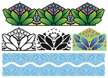 Arts and Crafts Border. Fantasy floral border elements in Arts and Crafts Style Royalty Free Stock Photography
