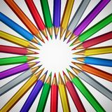 Arts And Crafts Central Design. With color pencils as a creative abstract circular graphic with center blank area as a 3D illustration vector illustration