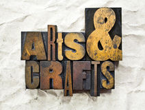 Arts & Crafts Letterpress. The words Arts & Crafts written in vintage wood letterpress type stock image