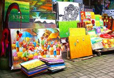Colorful arts and crafts at the market in Ubud, Bali, Indonesia Royalty Free Stock Images