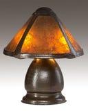 Arts and Crafts Mica Shade Table Lamp. Arts and Crafts Table Lamp with Mica Shade and Hammered Copper Base with Patina Royalty Free Stock Photo