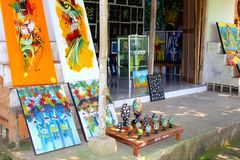 Artistic arts and crafts shop in Ubud, Bali Stock Photo