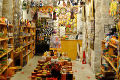 Arts and crafts in Spain. A view of local arts, crafts and souvenirs available for purchase by tourists in Girona, Spain royalty free stock photo