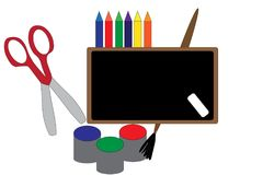 Arts and Crafts Supplies. Illustrated arts and crafts supplies with blank blackboard and chalk on white Stock Image