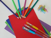Arts and Crafts Supply, Kids Crafts, Back To School, School Supplies stock images