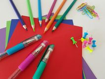 Arts and Crafts Supply, School Supplies royalty free stock photography