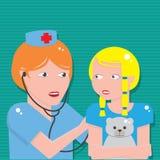 Arts die aan borst van patiënt met stethoscoop luisteren royalty-vrije illustratie