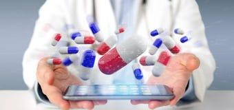 Arts die een 3d teruggevende groep medische pillen houden Royalty-vrije Stock Foto's
