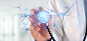 Arts die een 3d teruggevende groep neuronen houden Stock Foto