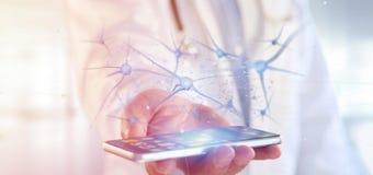 Arts die een 3d teruggevende groep neuronen houden Stock Afbeelding