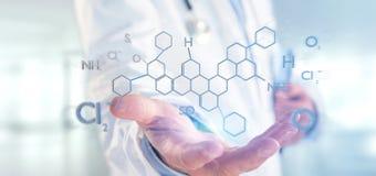Arts die een 3d teruggevende die moleculestructuur houden op B wordt geïsoleerd Stock Foto's