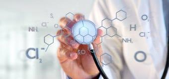 Arts die een 3d teruggevende moleculestructuur op B houden Stock Fotografie
