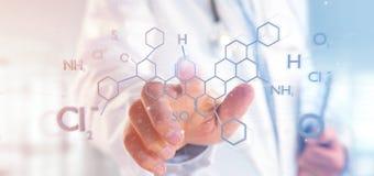 Arts die een 3d teruggevende moleculestructuur op B houden Stock Foto's
