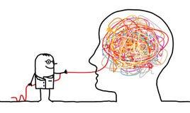 Arts die een hersenenknoop opheldert Stock Foto's