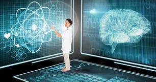 Arts die medische interface in 3D ruimte gebruiken Stock Foto's
