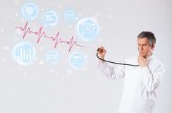 Arts die moderne hartslaggrafiek examinating stock afbeeldingen