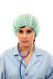 Arts die op witte, mooie verpleegstersvrouw wordt geïsoleerd Royalty-vrije Stock Afbeeldingen