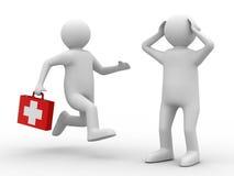 Arts en patiënt op witte achtergrond Stock Afbeeldingen