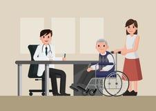 Arts en patiënt in vlakke stijl Vakman artsenmens en oude mensenpatiënt in het ziekenhuis medisch bureau Royalty-vrije Stock Afbeeldingen