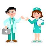 Arts en verpleegster royalty-vrije illustratie