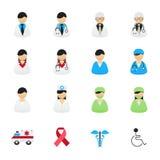 Arts en Verpleegster Healthcare Professionals Icons Reeks Gezondheid en Medische Pictogrammen Vector de Pictogrammen Vlakke Stijl Royalty-vrije Stock Foto