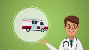Arts en ziekenwagen HD animatie stock video