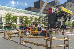 Arts and entertainment district(Quartier des spectacles). Just for Laughs (French: Juste pour rire) is a comedy festival held each July in Montreal, Quebec stock photo