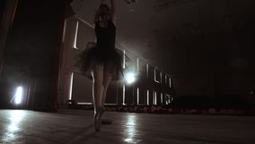 Arts and entertainment in theatre with female classic dancer in tutu, standing behind the scenes and looking at stalls. Arts and entertainment in theatre with stock footage