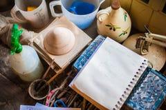 Arts et outils d'atelier de métiers Photo stock