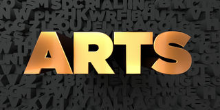 Arts - Gold text on black background - 3D rendered royalty free stock picture Royalty Free Stock Photo