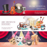 Arts Horizontal Banners Set Stock Image