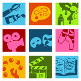 Arts icons. Vector hand drawn and designed illustrations Royalty Free Stock Photos