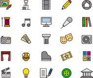 Arts icons. Colorful set of icons relating to the arts on white background Stock Images