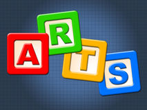 Arts Kids Blocks Indicates Draw Youths And Artwork. Arts Kids Blocks Meaning Painting Childhood And Graphics Stock Photography