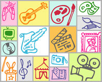 Arts and leisure. Vector hand drawn color set Stock Images