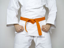 Arts martiaux centrés par ceinture orange debout de combattant Photo stock