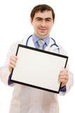 Arts met een leeg blad van document Stock Foto